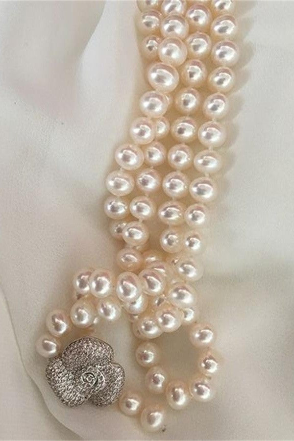 Handmade Elegant Near Round 7-8mm Freshwater Pearl Necklace P23