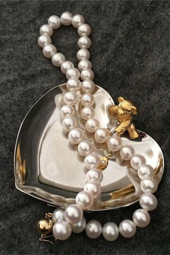 Beautiful Handmade Perfect Round Pearl Necklace with 14K Gold Clip P26