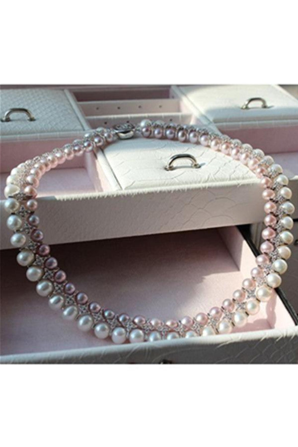 Pretty Bridal Wedding Double Loop Real Pearl Necklace P27