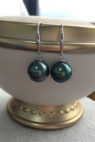 Pretty 8-9mm Tahitian Peacock Clip Pearl Earrings with S925 Silver Posts P7