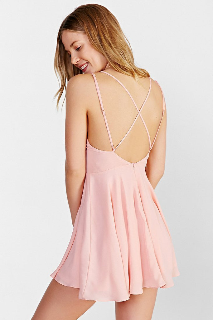 Lovely Pink V Neck Homecoming Dress,Simple Short Open Back Prom Party Dress,Skater Dresses OK359