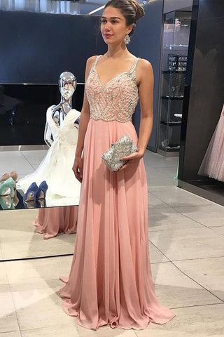 Cheap Peach Chiffon Beading Straps Long A-line Prom Dresses OKG31