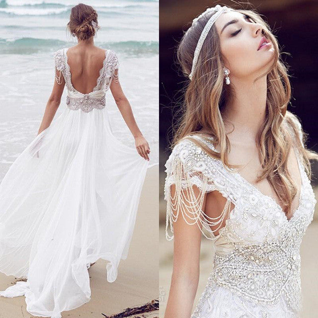 Sexy Beading A Line Chiffon V-neck Long Beach/Coast Wedding Dresses,Summer Wedding Gown OK267