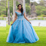 Puffy Ball Gown Prom Dresses Long Off Shoulder Dress Woman Party Night Formal Dress OKW34