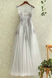 Gray tulle round neck a line lace applique see-through long prom/evening dresses OK194