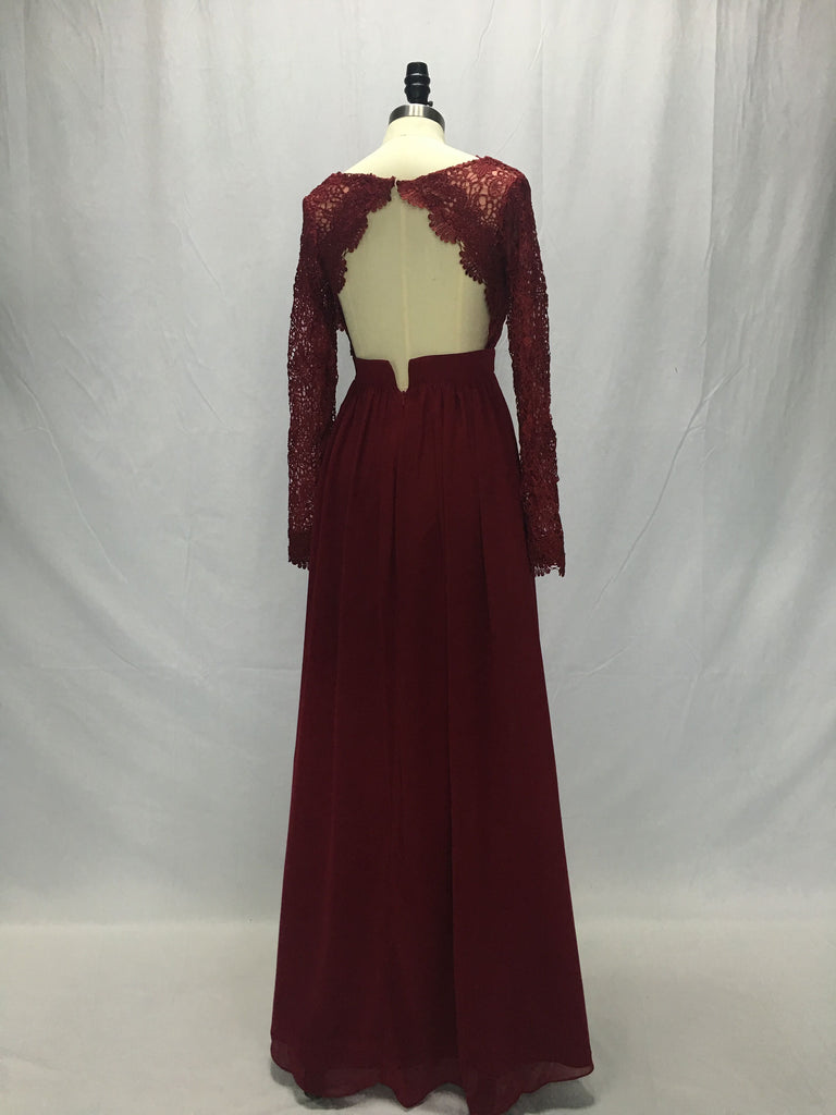 Lace Chiffon Bodice Burgundy Prom Dress,Long Simple Bridesmaid Dress with Long Sleeves OK381