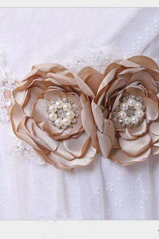 Bridesmaid Sash/Belt with Pearls Flower Girl Sash Rustic Stones Wedding Belt Bridal Flower Sash BS1