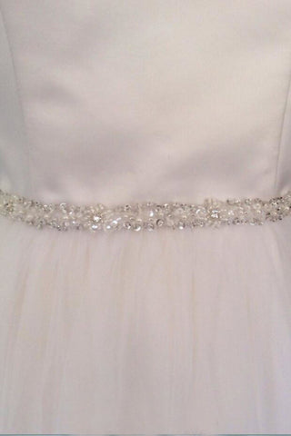 Skinny Beaded Bridal Belt Thin Ribbon Crystal Sash Narrow Rhinestone Trim BS6