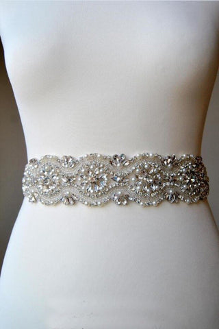 Rhinestone Wedding Bridal Sash Belt Beading Pearls All Around Belt BS15