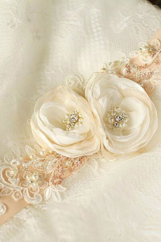 Flower Peach Nude Blush Bridal Sash Rhinestones Floral Rustic Belt BS12