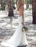 Mermaid Spaghetti Straps Lace V-neck Bakcless Sexy Beach/Coast Wedding Dresses OK263