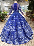 Royal Blue Long Sleeves Lace Prom Dresses,Ball Gown Quinceanera Dresses OKK6