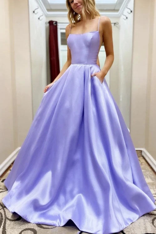Simple Long Satin Purple Prom Dress With Pockets Fashion School Dance Dress OKT75