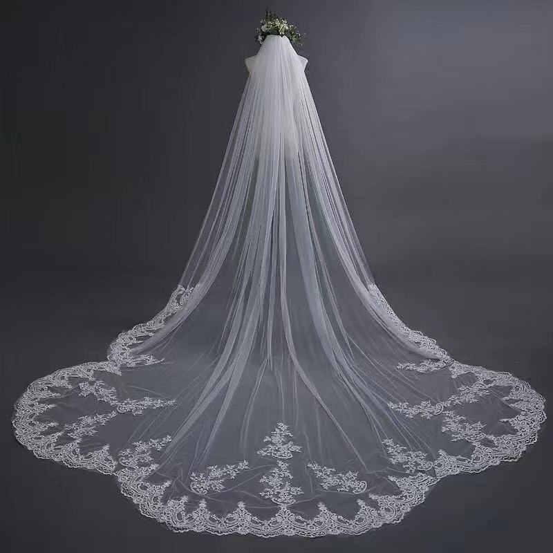 Ivory Lace Appliqued Tulle One Layer Wedding Veil, Bridal Veil WV23