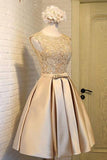 Light Gold Satins Lace Round Neck Homecoming Dress With Bownot OK342