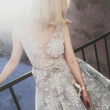 A Line V neck Lace Sleeveless Tulle Short Ball Gowns Light Grey Short Homecoming Dress OK204