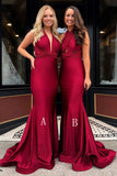 Mermaid V-Neck Burgundy Long Convertible Prom Bridesmaid Dress OKR23