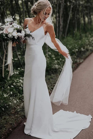 Simple Boho V-Neck Wedding Dresses Sleeveless A-Line Spaghetti Straps Bridal Dress OKW42