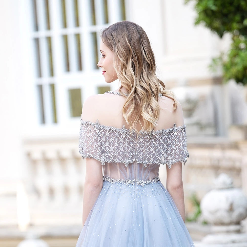 Light Blue Tulle Long Prom Dresses Beaded Aline Formal Gowns For Party OKW68