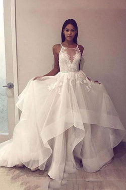A Line Tulle Appliques Long Prom Dress Open Back Cheap Wedding Dress OKH86