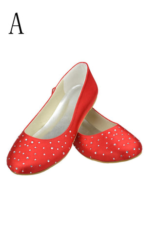 Red Beading Simple Cheap Handmade Free Shipping Flats S10