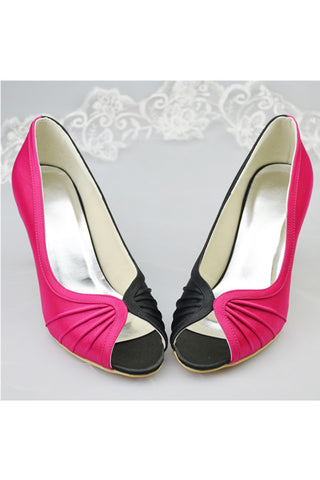 Rose Red And Black Satin Simple Cheap High Quality Women Shoes S114