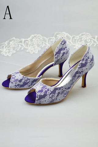 Nave Blue Peep Toe Simple Cheap Wedding Shoes With White Lace S14