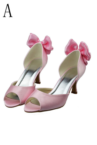 Pretty Pink Cute Low Heel Handmade Peep Toe Shoes For Wedding S18