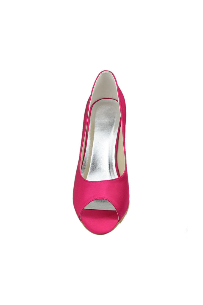 Pretty Simple Hot Pink Peep Toe Handmade Shoes For Wedding S22