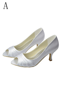 Beautiful White Peep Toe High Heel Handmade Comfy Wedding Shoes S23