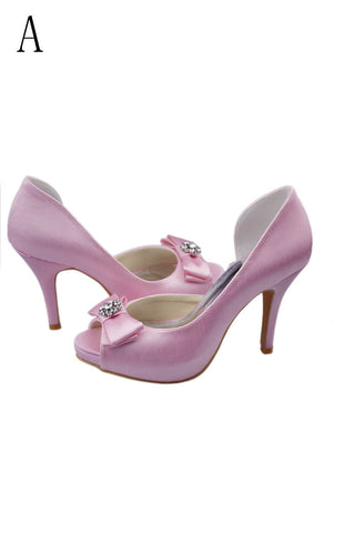 Free Shipping Charming Pink High Heel Shoes With Bow Knot And Beads S25