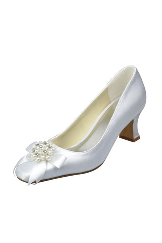 Simple White Low Heel Wedding Shoes With Flowers And Beads S32