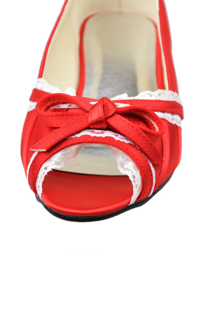 Beautiful Lace Red Peep Toe Handmade Wedding Shoes With Bow Knot S34