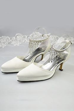 Elegant Handmade Beautiful Ankle Strap Prom Shoes With Beads S35