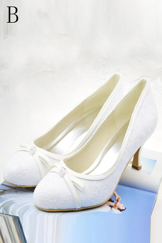 Simple Elegant Close Toe Handmade Comfortable Lace Wedding Shoes S38