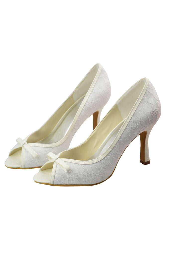 Pretty Ivory Lace Peep Toe Women Shoes Wedding Shoes S39