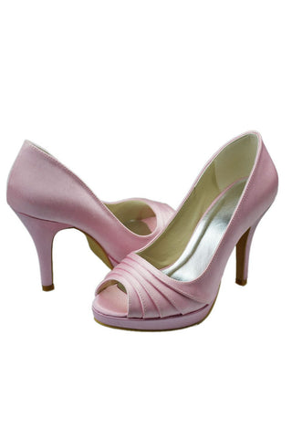Free Shipping Pretty Pink Peep-toe High Heel Simple Satin Wedding Shoes S3