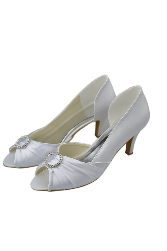 Simple White Handmade Comfy Peep Toe Women Shoes For Wedding S40