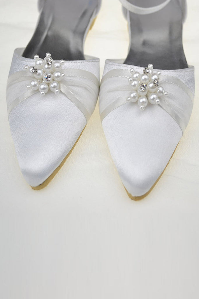Pretty Ivory Pointed Toe Handmade Beading Flats For Women S47