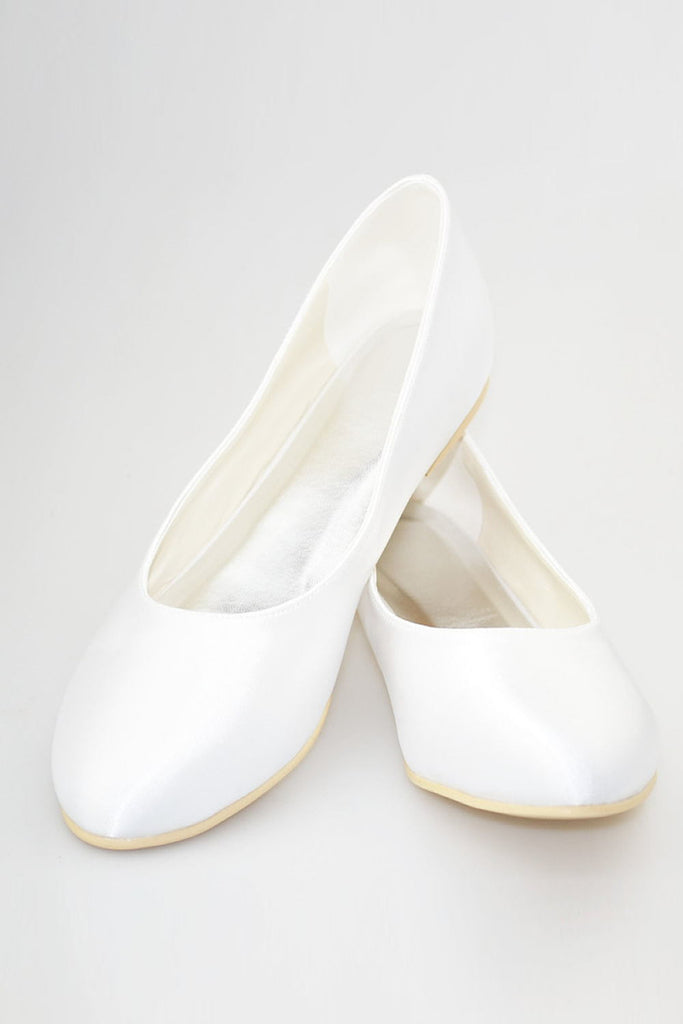 Simple Cheap Comfortable White Close Toe Shoes For Wedding S49