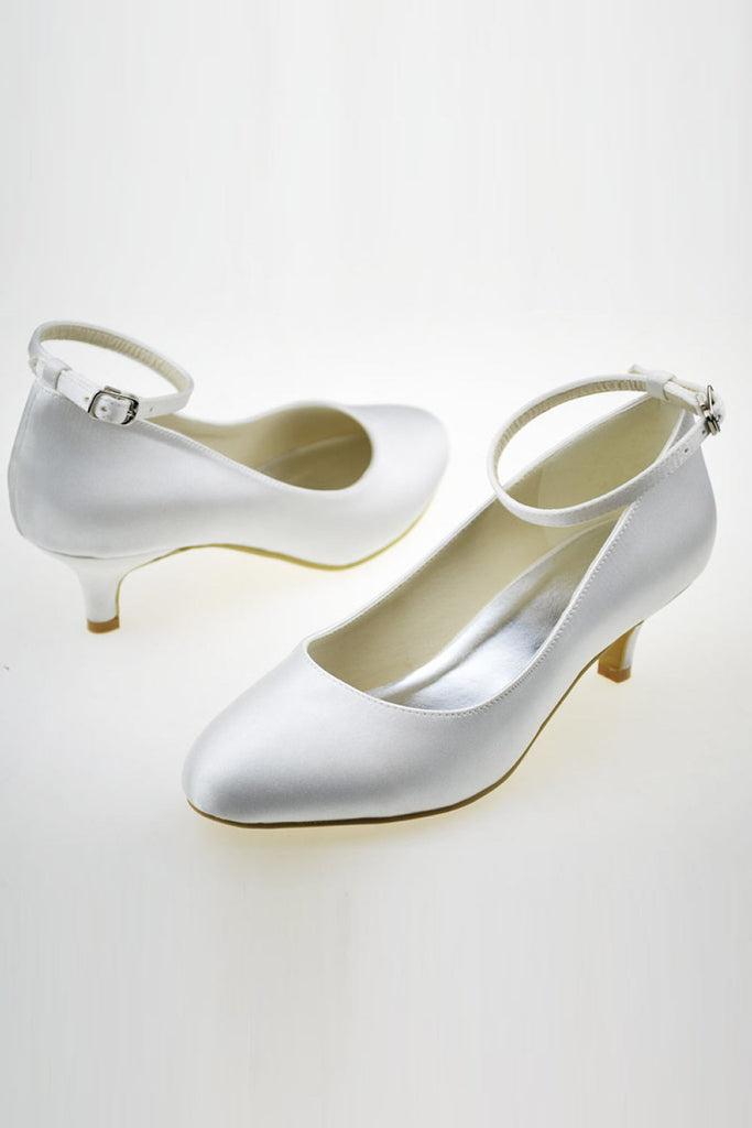 Elegant Low Heel Ankle Strap Simple Handmade Wedding Shoes S50