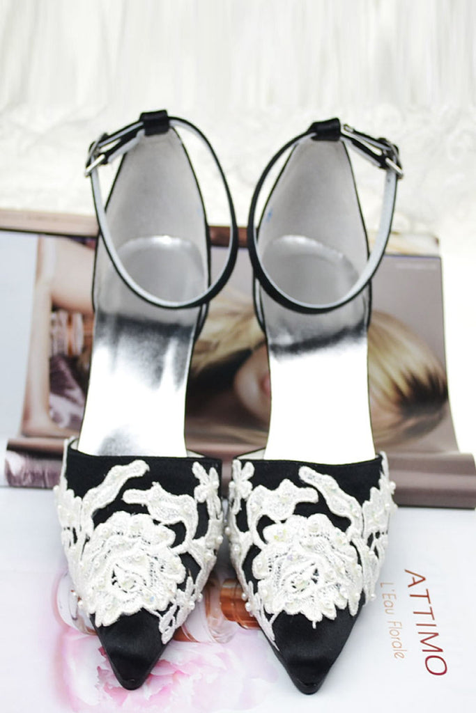 Beautiful White Lace Ankle Strap Pointed Toe Black Women Shoes S52