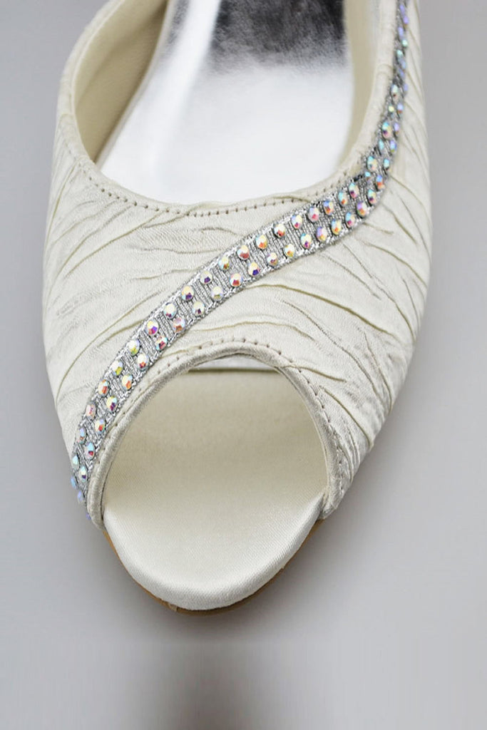 Pretty Ivory Beading Handmade Peep Toe Women Shoes For Wedding S54