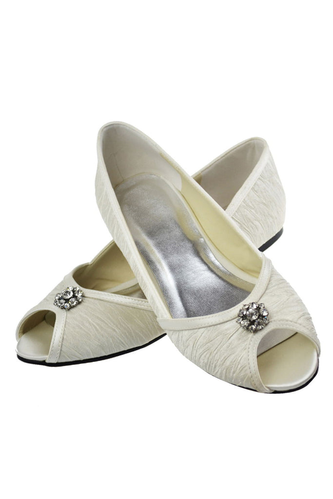 Simple Cute Handmade Beaded Peep Toe Comfy Flats For Women S56