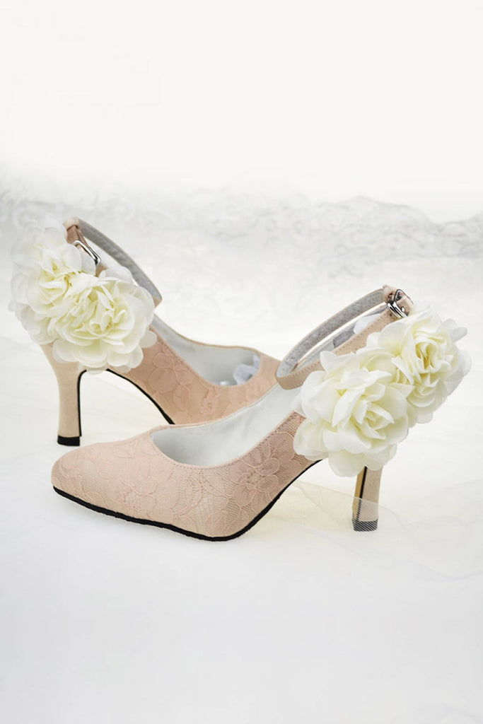 Pink Lace Handmade Comfortable Ankle Strap Wedding Shoes With Flowers S59