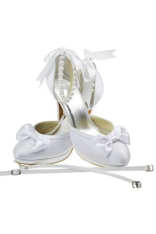 White Ankle Strap Beading High Heel Women Shoes With Bow Knot S6