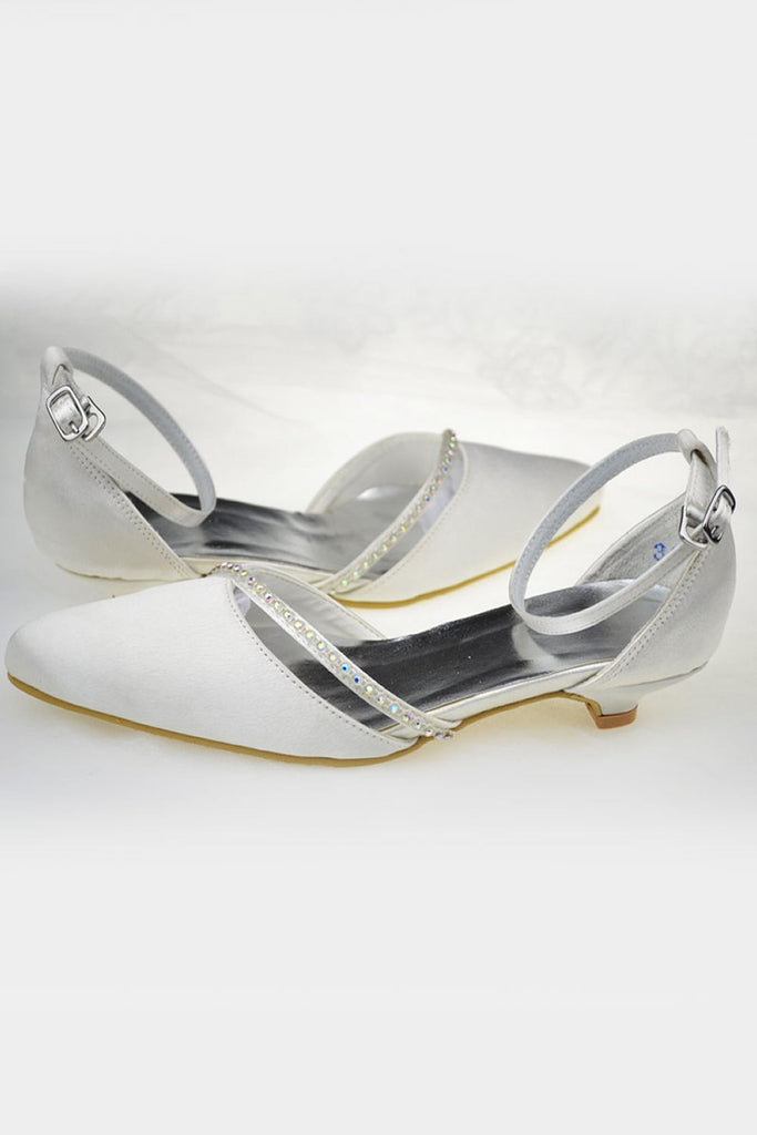 Low Heel Handmade Comfy Ankle Strap Wedding Shoes S63
