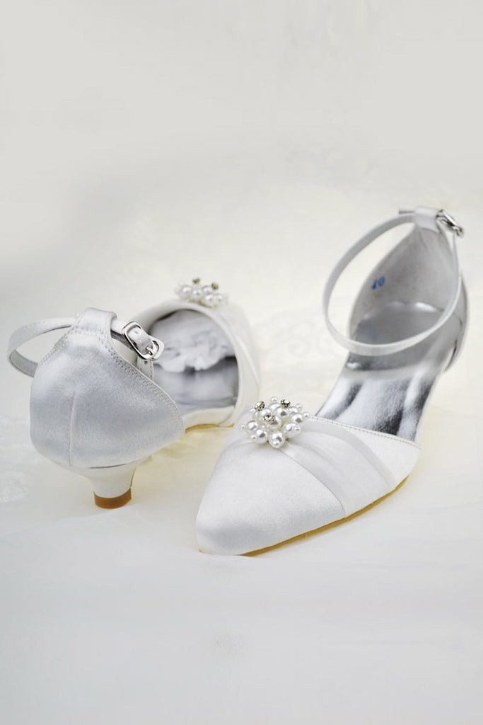 Simple Handmade Ankle Strap Low Heel Shoes With Beads S65