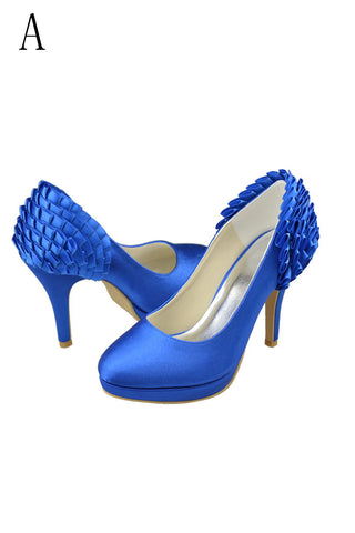 Vintage Royal Blue Simple Satin Handmade Close Toe Wedding Shoes S66