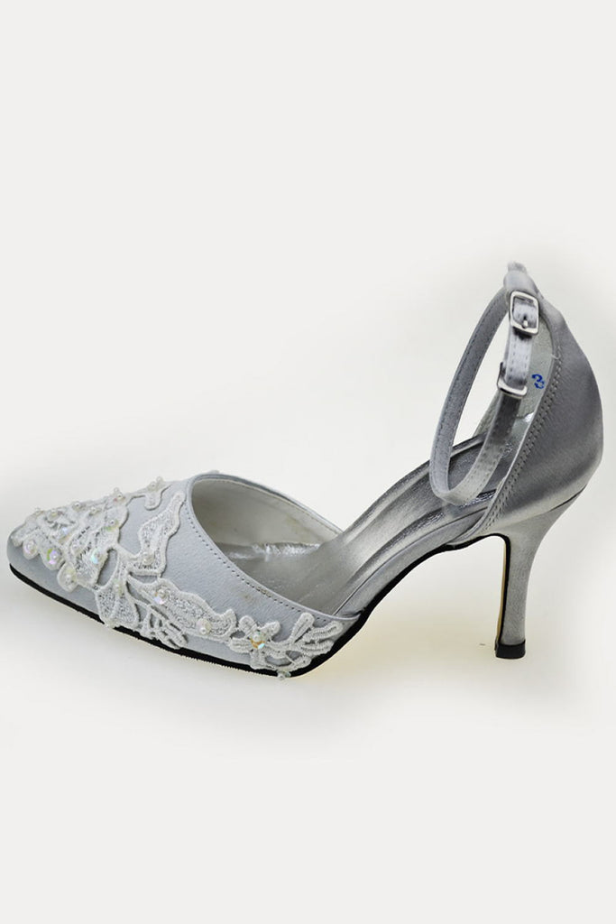 High Heel Ankle Strap Handmade Lace Beading Wedding Shoes S67
